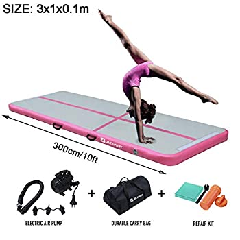 Image of Air Track Gymnastics Tumbling Mat Inflatable Floor Mats with Electric Air Pump for Home Use/Tumble/Gym/Training/Cheerleading/Parkour/Beach/Park/Water 3.3/10/13.12/16.4/20/23-39ft (Pink, 9.84) Training Mats