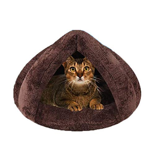 Windyghy Cat Cave Small Dog Bed Cave Soft Self Warm Nest Kennel Bed Cave House Sleeping Bag Mat Pad Tent for Cat Puppy Rabbit Small Animals. (4040cm/1616Inch, Coffee)