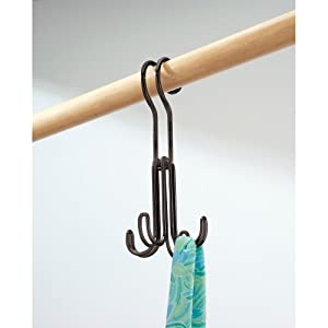 InterDesign Classico Over the Rod, Closet Accessory Organizer for Ties, Belts, Handbags, Fashion Jewelry - 4 Hooks, Bronze
