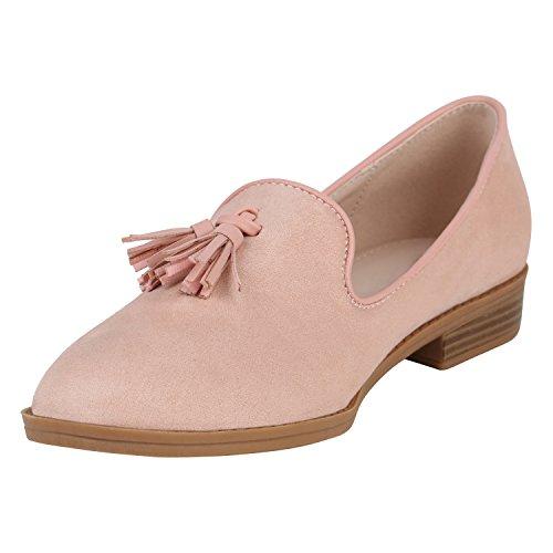 Stiefelparadies Damen Schuhe Slippers Tassel Loafers Quasten Elegante Slip Ons Flandell Rosa Quasten