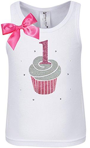Bubblegum Divas Baby Girls' 1st Birthday Cupcake Tank, Size 12 Months, White