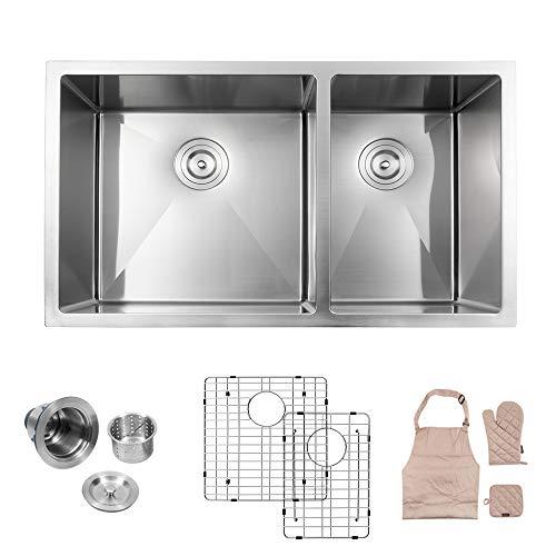 LORDEAR LU3219R2 Modern 32' x19' 10 Inch Deep 16 Gauge Stainless Steel Undermount 60/40 Double Bowl Kitchen Sink