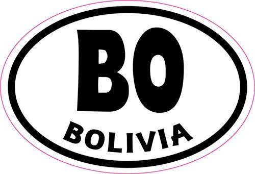EvelynDavid Home Decal 3inches x 2inches Oval BO Bolivia Sticker Vinches yl Cup Decal Bumper Stickers