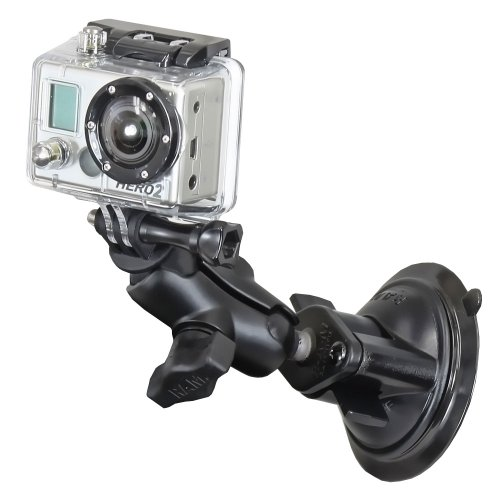 "RAM Twist Lock Suction Cup Mount, Short Double Socket Arm & 1"""" Diameter Ball with Custom GoPro® Hero Adapter"