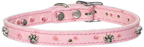 OmniPet Faux Ostrich Signature Leather Dog Collar with Paw Ornaments, Pink, 14""