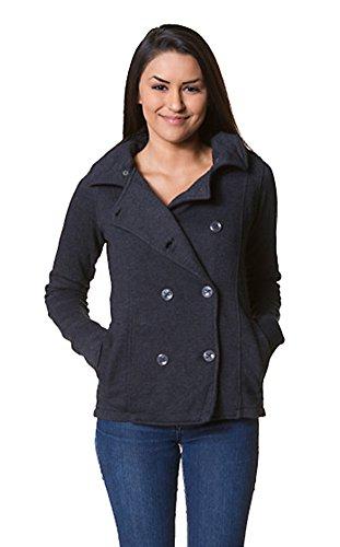 Independent Trading Co. Women's Premium Fleece Pea Coat, Charcoal Heather, XL