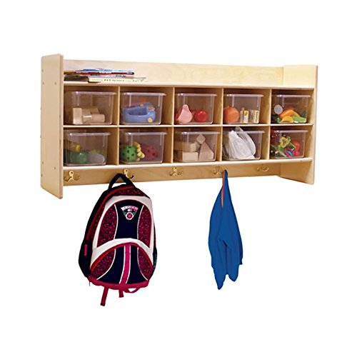 Contender Kids Home School Furniture C51401 Wall Locker and Cubby Storage with 10 Translucent Trays