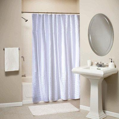 Greenland Trading Ruffle Shower Curtain, White