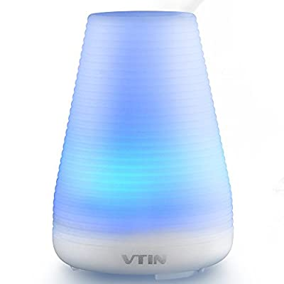 Essential Oil Diffuser/ Humidifier, Vtin 100ml Portable Electric Ultrasonic Aromatherapy Essential Oil Diffuser Cool Mist Humidifier w/ 7 Color LED Lights, Zero Noise, Waterless Auto Shut-off