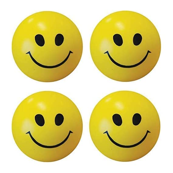 Smile N Style Essentials- (Set of 3) Smiley Face Squeeze Stress Ball - 3 inch (Yellow, Black)