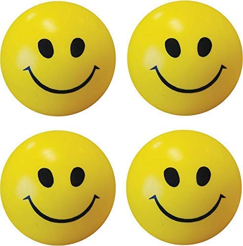 Smile N Style Essentials   Set of 4  Smiley Face Squeeze Stress Ball   3 inch  Yellow, Black