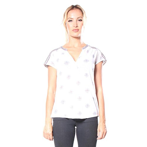 Lucky Brand Women's Embroidered Henley Shirt, Lucky White, X-Small