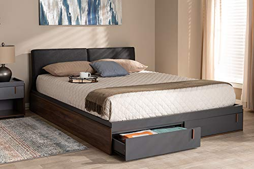 Baxton Studio Rikke Modern and Contemporary Two-Tone Gray and Walnut Finished Wood Queen Size Platform Storage Bed with Gray Fabric Upholstered Headboard ()