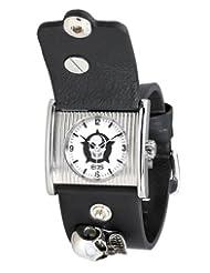 EOS New York Men's 39SBLK Skullika Skull Detailed Leather Strap Watch