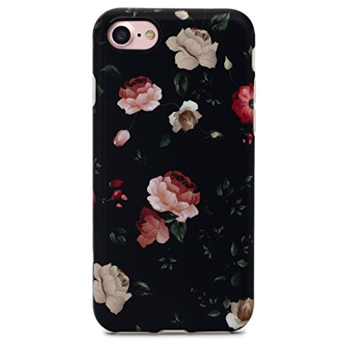 GOLINK iPhone 7 Case for Girls/iPhone 8 Floral Case, Floral Series Slim-Fit Anti-Scratch Shock Proof Anti-Finger Print Flexible TPU Gel Case for iPhone 7/iPhone 8 - Flower Black