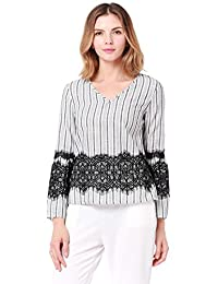 FEOYA Women's Long Sleeve Crewneck Tunic Top Stripes Printed Loose Lace Blouse