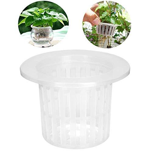 Wonninek Net Cups 4.33 Inch Bucket Basket Lid Garden Plastic Net Cups Pots Hydroponic Basket Cup Plant Net Pot for…