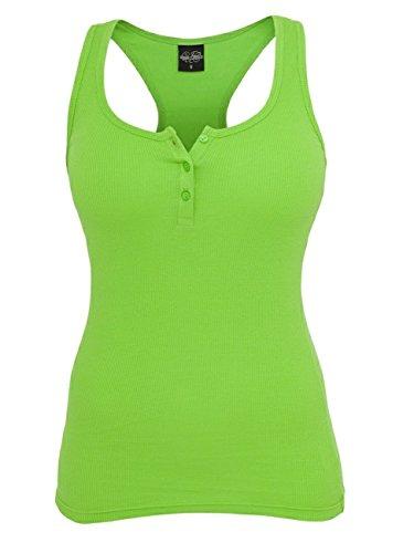 Urban Classics Ladies Button Tanktop - Camiseta sin mangas de fitness para mujer amarillo