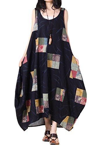 Mordenmiss Women's Summer Maxi Dress Sleeveless Cotton Li...