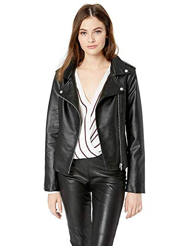 BB Dakota Women's just Ride Textured Vegan Leather Moto Jacket, Black, Extra Small