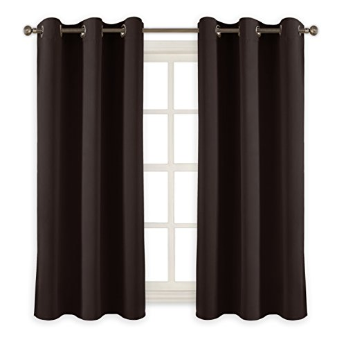 PONY DANCE Thermal Insulated Blackout Curtain Panels Home Decoration Room Darkening Drapes Light Blocking Window Treatments Draperies for Small Window, 42 by 45 Inch, Chocolate Brown, 2 (Chocolate Brown Drapes)