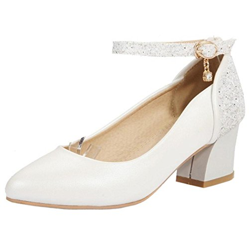 KemeKiss Pumps Ankle Women Strap White rnqXrHwf