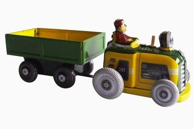 Tin Tractor Toy - tin toys new collector wind up 80s nostalgic metal toy tractor towing cargo cart green yellow