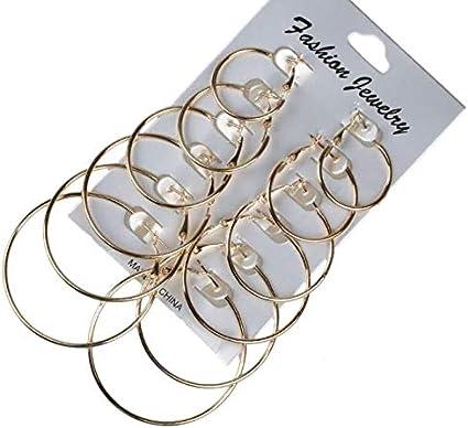 Hwiionne 12 Paires//Set Boucles doreilles cr/éoles pour Femmes Set Big Circle Ear Fashion Jewelry Or