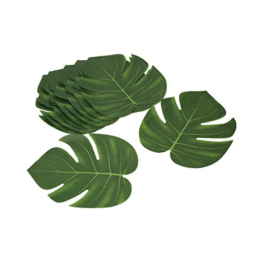 (Shintop Artificial Tropical Leaves, Fake Palm Leaves Hawaiian Luau Party Jungle Beach Theme Decorations for Birthday, Wedding, Prom, Events (12pcs))