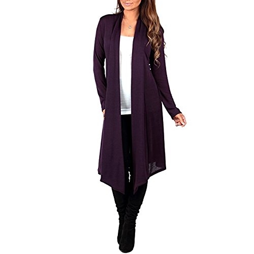 Knee Cardigan Length (Women's Knee Length Draped Hacci Cardigan by Rags and Couture- Made in USA)