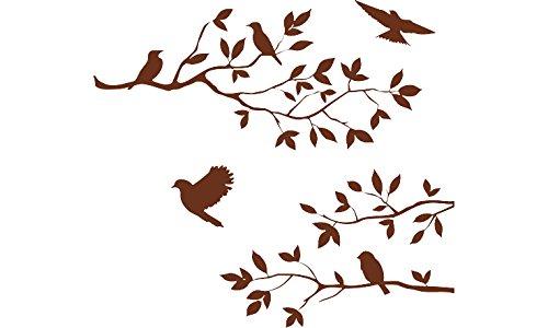 Brown 16'' X 24'' Burnish Birds & Blossoms Vinyl Wall Decal ART (24' Wooden Stick)