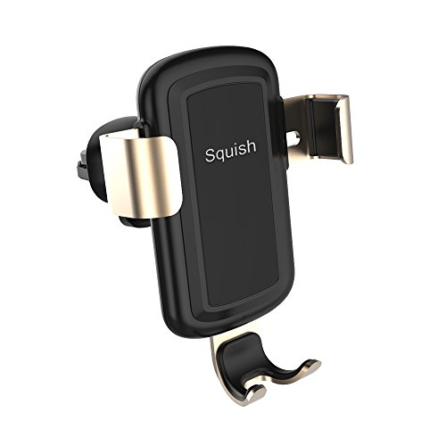 Holder Wireless - Squish Wireless Car Charger Phone Mount Universal Air Vent holder for iPhone X and for Samsung (Gold)