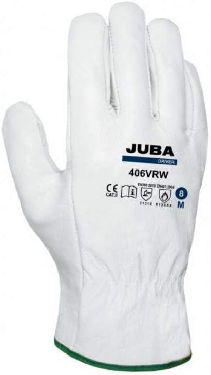 Juba B406 VRW/9 Guante conductor piel flor vaca talla 9 natural bolsa