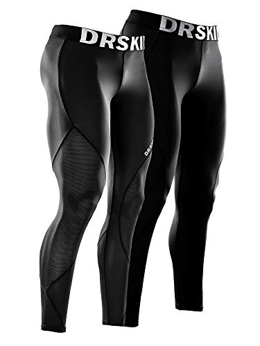 DRSKIN 1, 2 or 3 Pack Men's Compression Pants Dry Cool Sports Baselayer Running Workout Active Tights Leggings Yoga