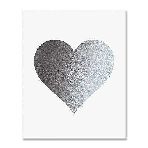 Silver Foil Heart Print Wall Art Modern Heart Decor Love Nursery Room Poster 5 inches x 7 inches A32