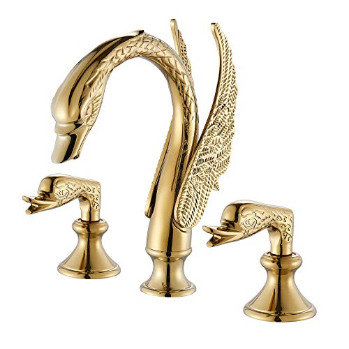 (Rozin Swan Shape Widespread 3pcs Bathroom Sink Faucet 2 Handles Vanity Basin Mixer Tap Gold Polished)