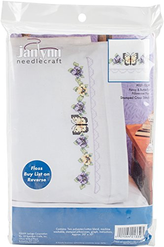 Janlynn Stamped Cross Stitch Kit, Pansy & Butterfly Pillowcase Pair