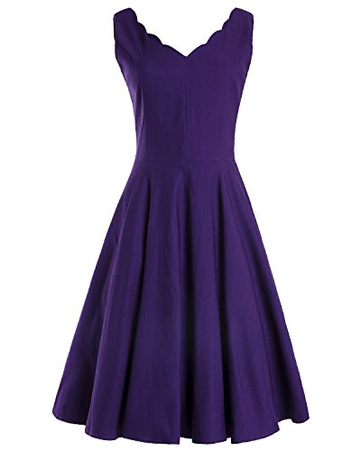 Purple Scalloped - OUGES Womens Scalloped V-Neck Vintage Fit and Flare Cocktail Dress(Purple,S)