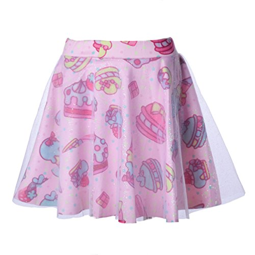 Mini Print Costumes (Focal18 Gauze Double Layer Lolita TUTU Skirt Mini Dress Cake Ice Cream Print)