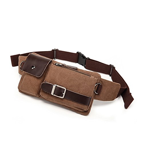 BAOSHA YB-01 Vintage Men's Waist Bag Sports Waist Pack Bum Bag Security Money Waist Day Pack Pouch Hip Belt Bag Bumbag Coffee]()