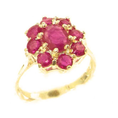 14k Yellow Gold Natural Ruby Womens Cluster Ring - Sizes 4 to 12 Available 14k Yellow Gold Natural Ruby
