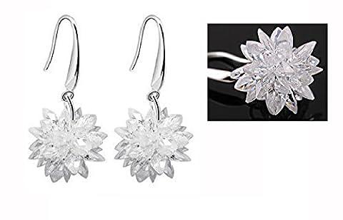 Sterling Silver Winter Ice Snowflake flowers Dangle Earrings Drop Earrings-White (Sterling Snowflake Earrings)