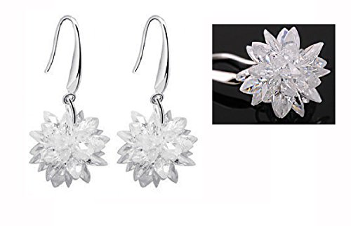 Sterling Silver Winter Ice Snowflake flowers Dangle Earrings Drop Earrings-White (Flower Ice Swarovski)
