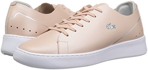 Lacoste Women's Eyyla Sneakers,Natural/Light Grey Leather,8.5 M US