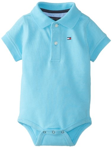 Tommy Hilfiger Baby-Boys Infant Short Sleeve Ivy Bodysuit, Blizzard Blue, 3 Months