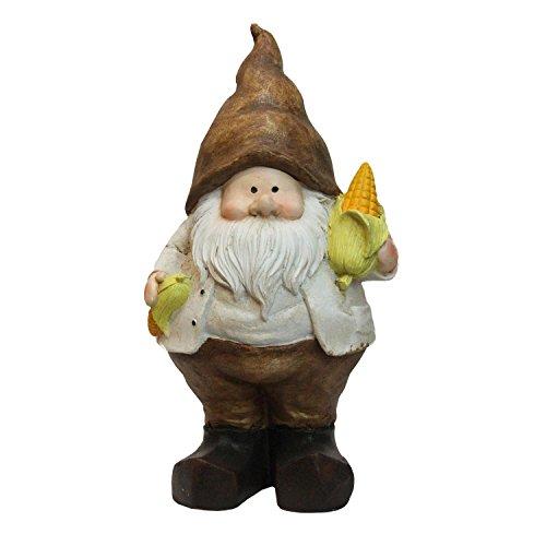"Northlight 12.25"" Polyresin Decorative Gnome Holding a Half Peeled Stalk of Yellow Corn ()"