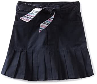 U.S. Polo Association School Uniform Big Girls'  Print Belt Twill Scooter Skirt, Navy, 7