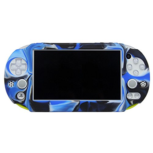 Pandaren Silicone Full cover Skin for PS Vita Slim PSV2000(Camouflage Blue)