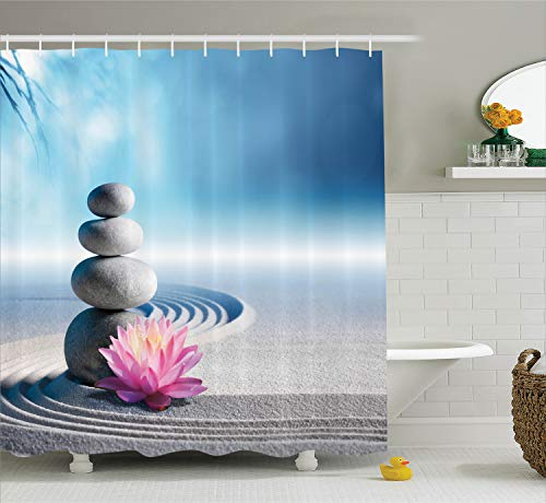 Ambesonne Spa Shower Curtain, Stones and Lotus Flower Over Sand Meditation Harmony Balance Flourish Your Spirit, Cloth Fabric Bathroom Decor Set with Hooks, 70