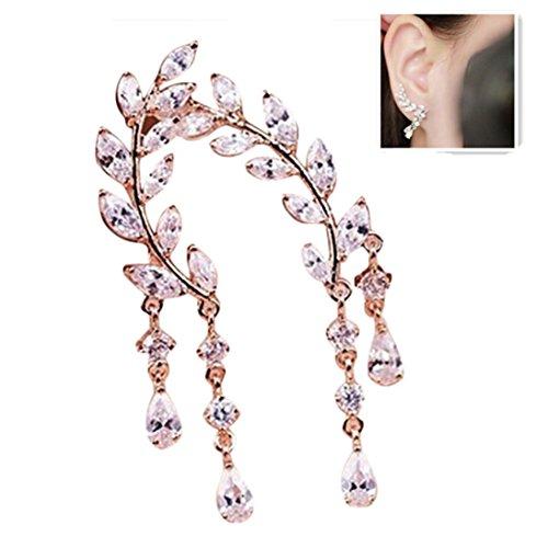 Women Crystal Rhinestone Leaves Earrings lightweight Ear Cuffs Stud Earrings Jackets Elegant Fashionable (Rose Gold)